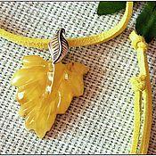 """Украшения ручной работы. Ярмарка Мастеров - ручная работа Янтарь. Кулон """"Желтый листочек"""" янтарь серебро. Handmade."""