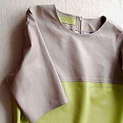 Одежда handmade. Livemaster - original item Leather dress lemon and beige colors. Handmade.