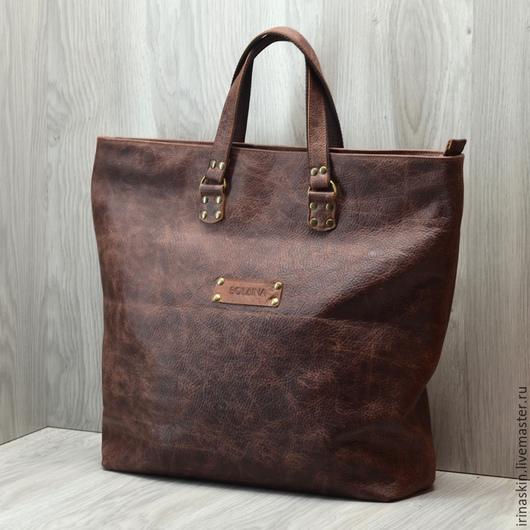 Кожаная сумка большая, кожаная сумка шоппер, кожаная сумка коричневая, большая кожаная сумка шоппер