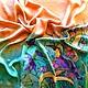 """Шали, палантины ручной работы. Ярмарка Мастеров - ручная работа. Купить Платок """"Закат"""" холодный батик, атлас. Handmade. Разноцветный"""