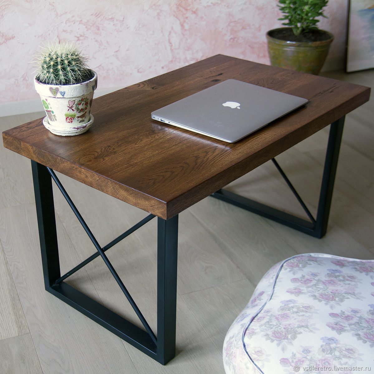 Table made of solid oak and metal in loft style, Tables, Moscow,  Фото №1