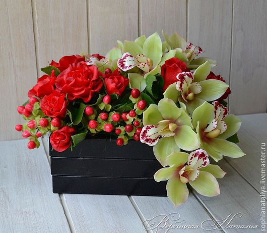 Цветы ручной работы. Ярмарка Мастеров - ручная работа. Купить Букет с цимбидиумом и розами из полимерной глины. Handmade. Вербицкая наталия