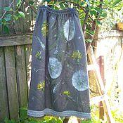 handmade. Livemaster - original item Skirts:Hand-painted linen skirt. Dandelion happiness Batik. Handmade.
