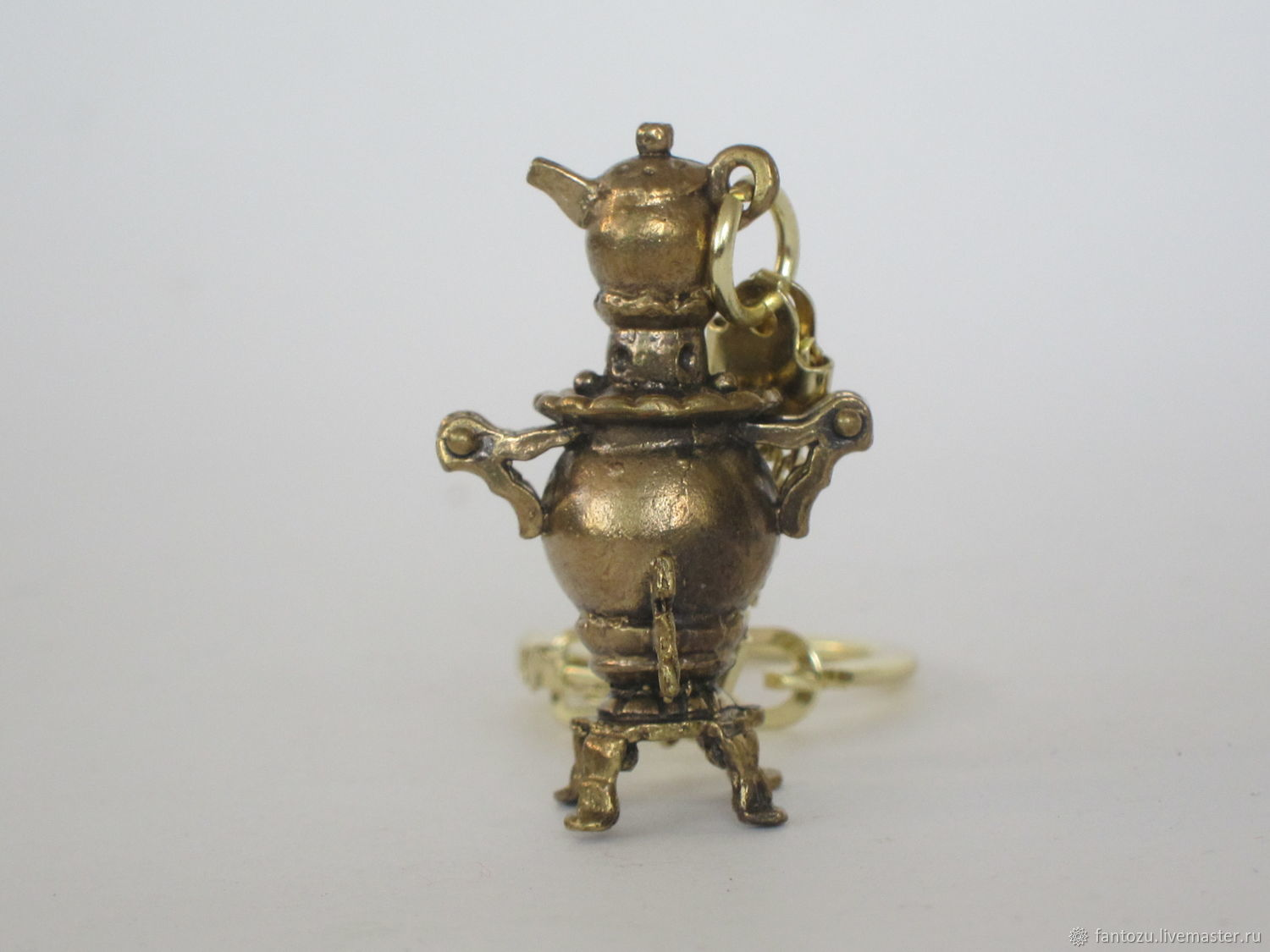 Brass keychain Samovar with a small teapot, Key chain, Yaroslavl,  Фото №1