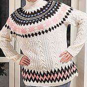 Одежда handmade. Livemaster - original item Women`s hand knitted pullover with round yoke. Handmade.