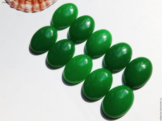 Для украшений ручной работы. Ярмарка Мастеров - ручная работа. Купить Кабошон ярко зеленый нефрит. Handmade. Ярко-зелёный