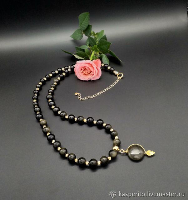 Perlas con colgante. Obsidiana dorada, Necklace, Moscow,  Фото №1