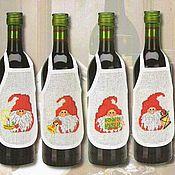 Сувениры и подарки ручной работы. Ярмарка Мастеров - ручная работа Фартук для бутылки. Handmade.