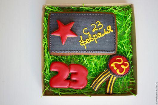 Кулинарные сувениры ручной работы. Ярмарка Мастеров - ручная работа. Купить Пряничный набор на 23 февраля для мужчины #4. Handmade.
