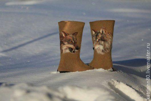 """Обувь ручной работы. Ярмарка Мастеров - ручная работа. Купить Валенки """"Волки"""" мужские. Handmade. Хаки, валенки для улицы"""