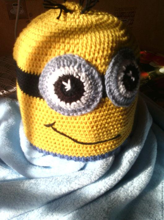 Детские аксессуары ручной работы. Ярмарка Мастеров - ручная работа. Купить Шапочка + шарфик в стиле Миньонов. Handmade. набор