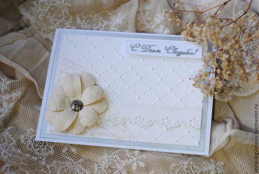 Свадебные открытки ручной работы. Ярмарка Мастеров - ручная работа. Купить Свадебная открытка. Handmade. Белый, открытки, бумага с тиснением