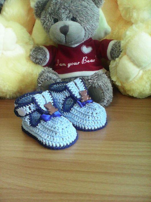 Для новорожденных, ручной работы. Ярмарка Мастеров - ручная работа. Купить Пинетки-сандали для мальчика 3-6 месяцев.. Handmade.