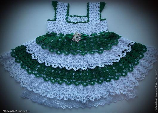 Одежда для девочек, ручной работы. Ярмарка Мастеров - ручная работа. Купить Платье для девочки. Handmade. Белый, зеленый