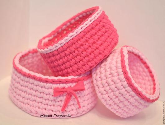 корзинки, корзинка, корзина, корзины, набор, набор корзин, вязаные корзины, вязаные корзинки, подарок, новогодний, новый год, розовый, фуксия, нежно-розовый, мимими, для девочек, для девушки
