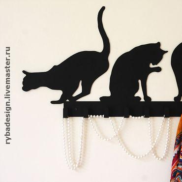 """Для дома и интерьера ручной работы. Ярмарка Мастеров - ручная работа Вешалка """"Кошки"""". Handmade."""
