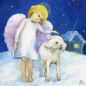 Открытки handmade. Livemaster - original item The angel and the Lamb Square card 15h15 cm in envelope. Handmade.