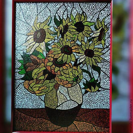 """Картины цветов ручной работы. Ярмарка Мастеров - ручная работа. Купить """"Подсолнухи Винсента ван Гога"""" выполненые в технике point-to-point. Handmade."""
