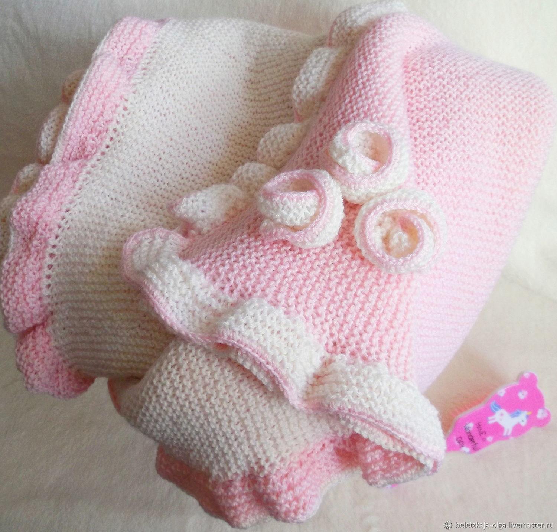 Плед детский - вязаное одеяло для новорожденной девочки Нежный румянец, Детские пледы, Уфа,  Фото №1