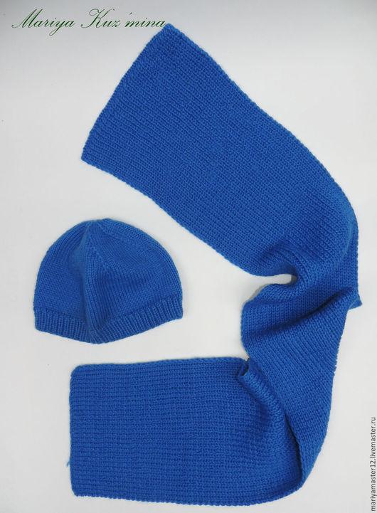 Комплекты аксессуаров ручной работы. Ярмарка Мастеров - ручная работа. Купить Комплект Шапка и шарф. Handmade. Синий, комплект вязаный