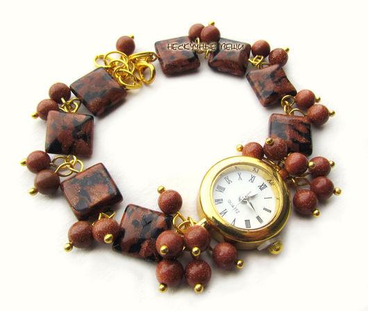 """Часы ручной работы. Ярмарка Мастеров - ручная работа. Купить """"Золотой песок"""" наручные часы с авантюрином. Handmade. Коричневый"""
