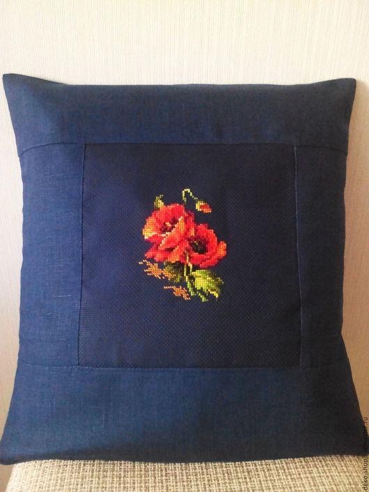 Текстиль, ковры ручной работы. Ярмарка Мастеров - ручная работа. Купить Льняные декоративные наволочки на подушки. Handmade. Тёмно-синий