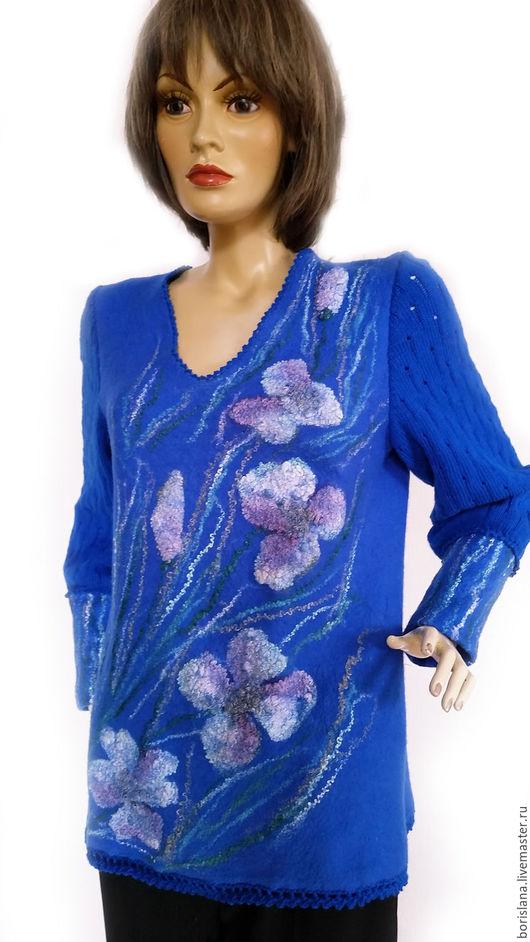 туника валяная, валяная туника, синяя туника,  туника из шерсти, шерстяная туника, пуловер женский, валяный пуловер, джемпер валяный, свитер женский валяный, туника с цветами. теплая туника, анемоны,