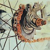 Картины и панно ручной работы. Ярмарка Мастеров - ручная работа Ржавая Велосипедная цепь Акварель Акварельная картина Ретро Велосипед. Handmade.
