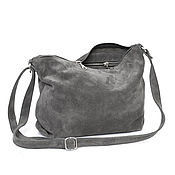 Сумки и аксессуары handmade. Livemaster - original item Simple grey suede Bag with shoulder strap. Handmade.