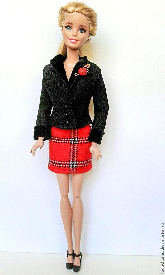 Одежда для кукол ручной работы. Ярмарка Мастеров - ручная работа. Купить Городская жизнь. Handmade. Черный, Клеточка, воротник апаш