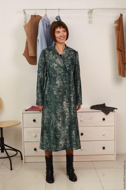 Верхняя одежда ручной работы. Ярмарка Мастеров - ручная работа. Купить пальто двубортное из искусственного меха. Handmade. Морская волна