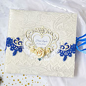 """Свадебный салон ручной работы. Ярмарка Мастеров - ручная работа Свадебный фотоальбом """"Blue night"""", подарок на свадьбу. Handmade."""