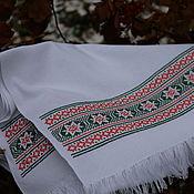 Русский стиль handmade. Livemaster - original item The towel embroidered with a cross pattern in orange and green. Handmade.
