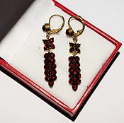 Винтаж handmade. Livemaster - original item Vintage earrings red brass Bohemian garnets pyrope 1900 - 1920. Handmade.