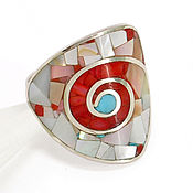 Украшения handmade. Livemaster - original item RING Nautilus. coral and mother of pearl. Ring handmade. Handmade.