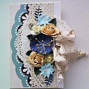 Открытки ручной работы. Ярмарка Мастеров - ручная работа Открытка с цветами. Handmade.