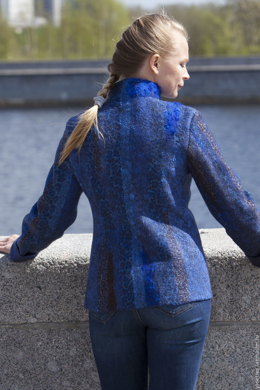 """Верхняя одежда ручной работы. Ярмарка Мастеров - ручная работа. Купить Авторское пальто ручной работы""""Sapphire dzhunglii""""куртка полупальто. Handmade."""