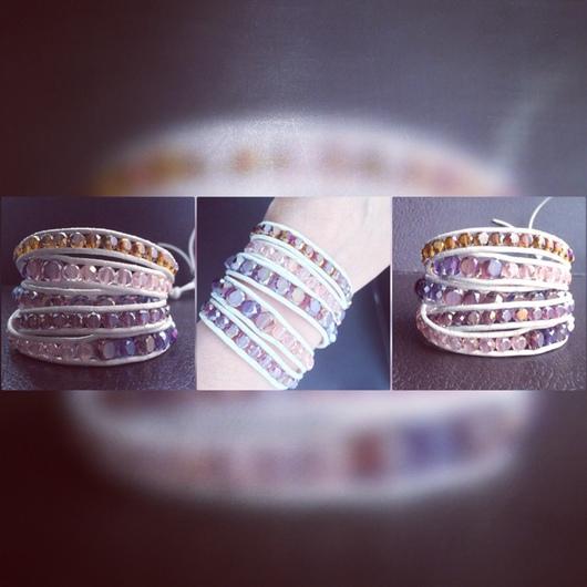 Браслеты ручной работы. Ярмарка Мастеров - ручная работа. Купить Wrap браслет с бусинами из Чешского стекла. Handmade. Разноцветный