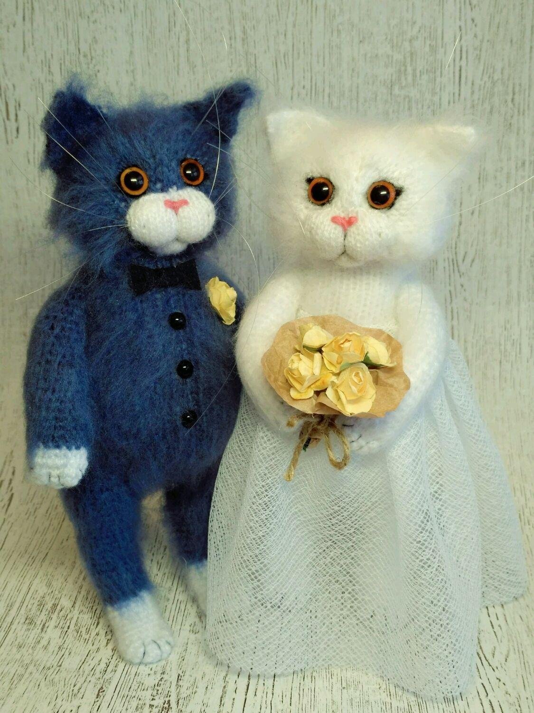 Вязаные коты жених и невеста, Мягкие игрушки, Санкт-Петербург,  Фото №1
