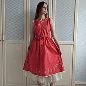 Одежда handmade. Livemaster - original item Coral dress with the author`s painting