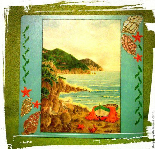 """Пейзаж ручной работы. Ярмарка Мастеров - ручная работа. Купить 2 панно """" морские мечты"""". Handmade. Разноцветный, море"""