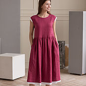 Одежда handmade. Livemaster - original item Linen dress in berry color with white lace. Handmade.