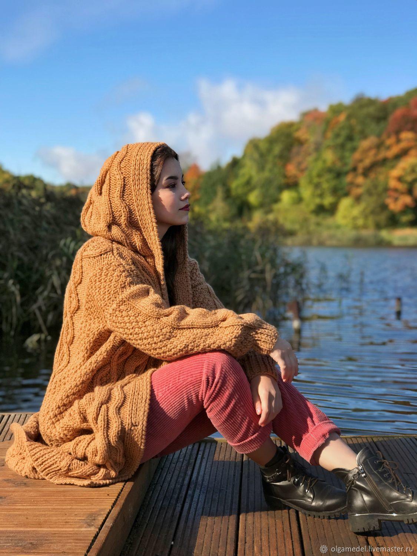 cardigans: Women's knitted coat with a hood oversize caramel color, Coats, Yoshkar-Ola,  Фото №1