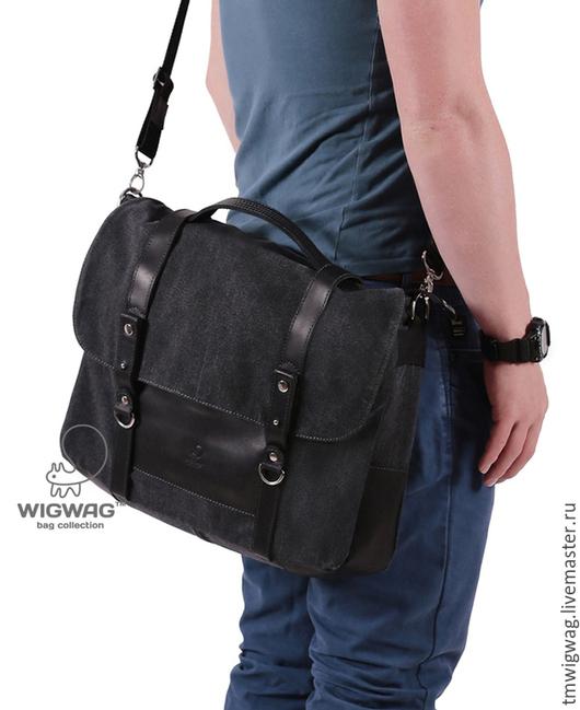 Мужские сумки ручной работы. Ярмарка Мастеров - ручная работа. Купить Мужской портфель из канваса и натуральной кожи. Handmade.