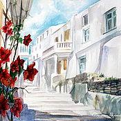 """Картины и панно ручной работы. Ярмарка Мастеров - ручная работа акварель """"красные цветы на белом солнце"""". Handmade."""