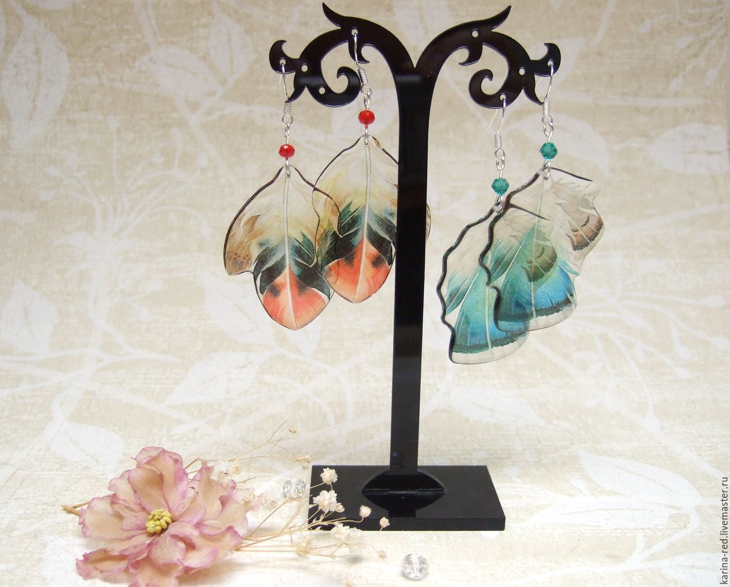 Earrings Transparent Blue and Red Feathers Epoxy Jewelry, Earrings, Taganrog,  Фото №1