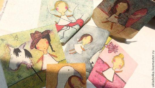 """Шитье ручной работы. Ярмарка Мастеров - ручная работа. Купить Купон-лен """"Малышки"""". 12х12см.. Handmade. Лен, ткань для шитья"""