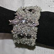 Украшения handmade. Livemaster - original item Beaded bracelet and beads Flowers in the snow. Handmade.