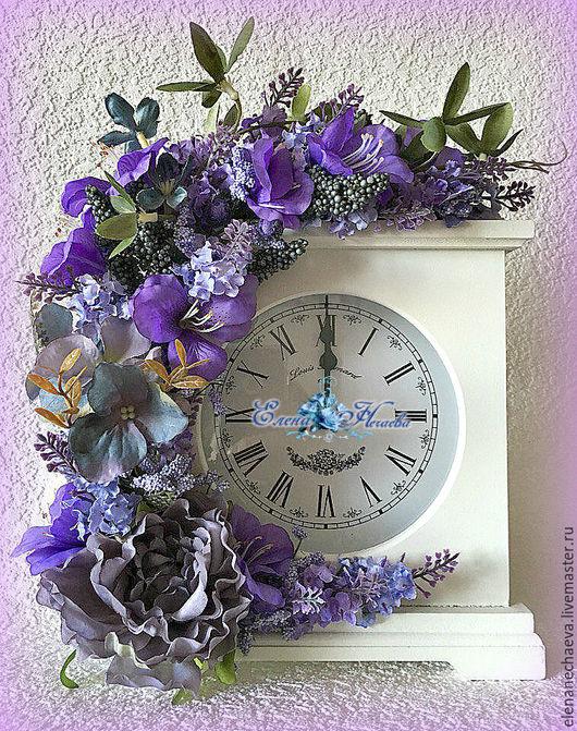 """Часы для дома ручной работы. Ярмарка Мастеров - ручная работа. Купить Интерьерные часы """"Сиреневая дымка"""" Декоративные часы. Handmade."""