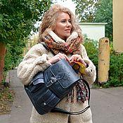 Сумки и аксессуары handmade. Livemaster - original item Women`s backpack leather blue jeans Mod R12p-661. Handmade.